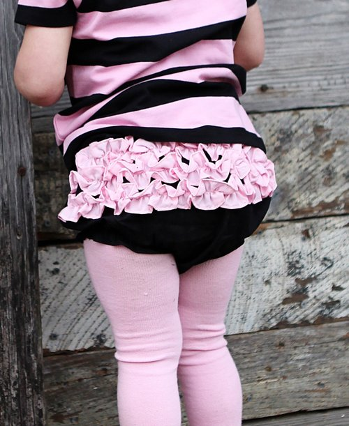 RuffleButts Black w/Pink Bloomer
