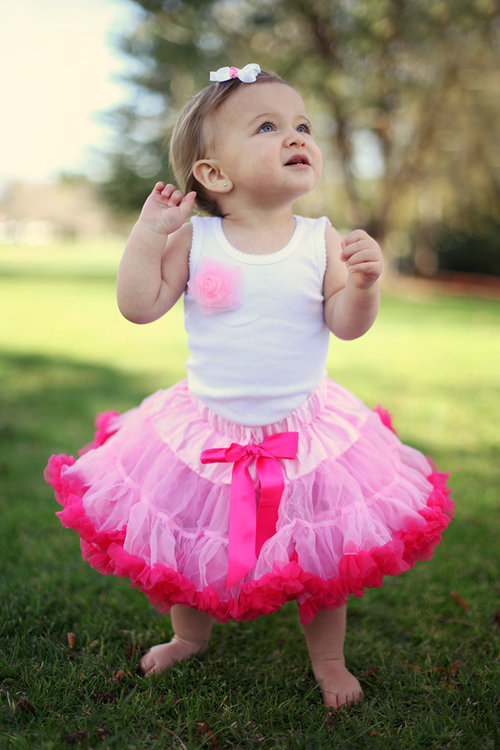 Precious Petti Skirt - Pink with Candy Trim
