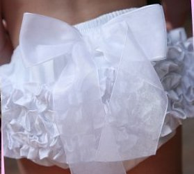 RuffleButts Woven White Bow Bloomer