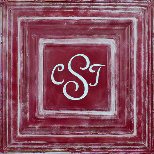 Square Metal Wall Plaque- Red