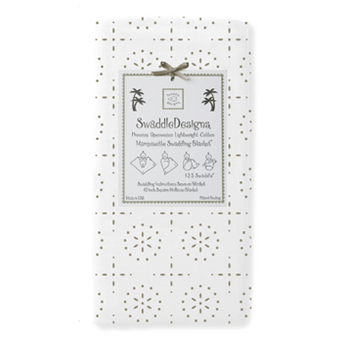 SwaddleDesigns - Marquisette Swaddling Blanket - Taupe Gray Sparklers on White