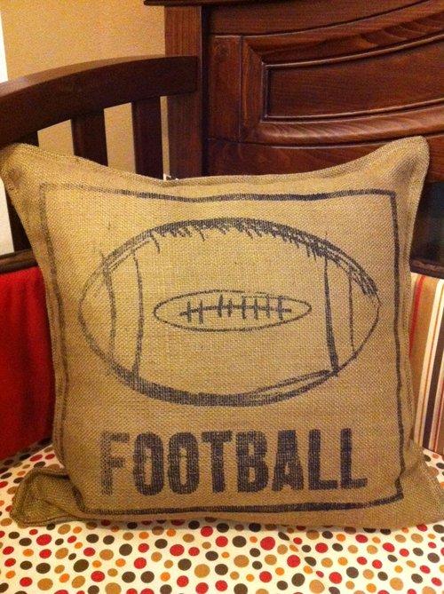 Twelve Timbers Burlap Football Pillow